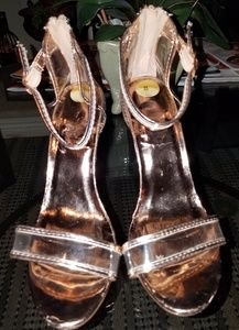 Rose gold heels with clear